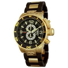 Invicta Men's 4900 Corduba Diver Chronograph Watch. Precise Japanese-quartz movement. Durable mineral crystal. Case diameter: 52 mm. Gold-tone-stainless-steel case; black dial; date function; chronograph functions. Water resistant to 660 feet (200 M): suitable for recreational scuba diving.