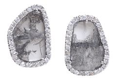 18k White Gold Diamond Slice Studs by Jessie Lane