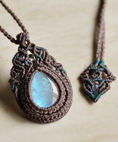 Blue Moonstone & Moldavite & tanzanite natural stone macrame crochet pendant
