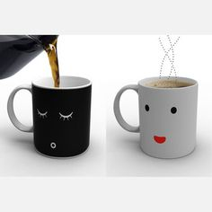 Morning Mug, $22, now featured on Fab. // Simply pour in hot coffee or tea and watch the face go from fast asleep to up-and-at-'em.