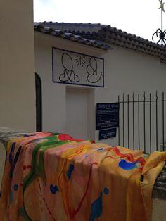 LEte at Chappelle de la Roserie Matisse Ceramic Roof Tiles, Chapelle, Matisse, White Ceramics, Bed Pillows, Blue And White, Abstract, Artist, Design