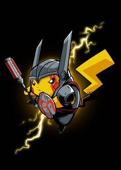 Pikachu being the God of Thunder Thor in Thor Ragnarok style Design for a Tshirt Pikachu Pikachu, Eevee Pokemon, Deadpool Pikachu, Cool Pokemon, Pokemon Avatar, Cute Pokemon Wallpaper, Cute Cartoon Wallpapers, Animes Wallpapers, Pikachu Drawing