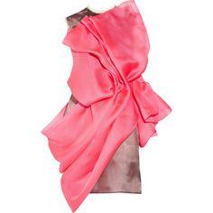 Firestone silk-organza and basketweave dress