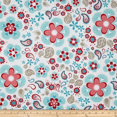 Riley Blake Twice as Nice Large Floral Blue from @fabricdotcom  Designed by The Quilted Fish for Riley Blake Designs, this cotton fabric is perfect for quilting, apparel and home decor accents. Colors include red, khaki, white, blue, pink and cream.