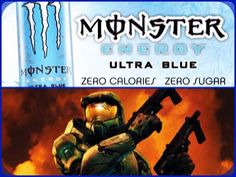 Ultra Monster/Halo Set-Up #2 [Blue]: Ultra Red Monster Energy Drink & Halo 2. #collage #blue #gamingfuel #xbox #halo #halo2 #spartan #masterchief #john117 #monsterenergy #ultrablue