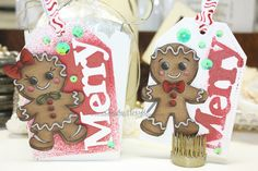 """Whimsy Stamps, Krista Heij-Barber, Gingerbread Love, tag, prismacolor pencil, Christmas tag, Large """"Merry"""" die"""