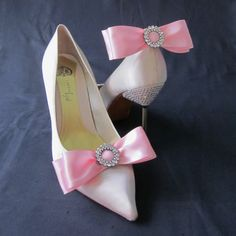 Pink Ribbon Bow And Rhinestone Shoe Clips by Chuletindesigns, $22.00