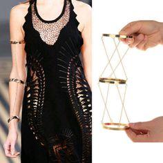 Unique Alloy Bracelet Three-rows Gold Chain Arm Bracelets