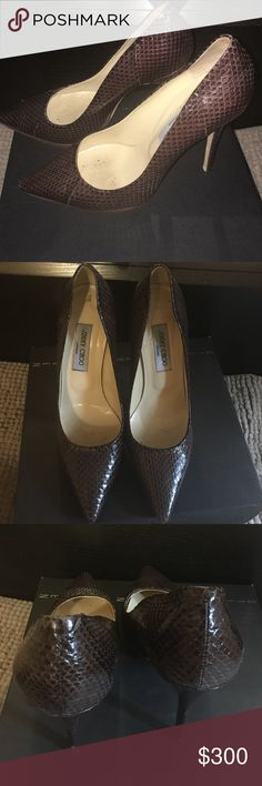 Jimmy Choo Snake Skin Stilettos Beautiful Brown Snake Skin Jimmy Choo Stilettos worn only a few times good condition. Scuff marks on bottom no marks on the shoe at all. Comes with original box. Jimmy Choo Shoes Heels