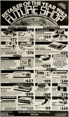 Future Shop Celebrates Anniversary with Blast from Past Computer Technology, Computer Science, Computer Video Games, Teaching Technology, Teaching Biology, Gaming Computer, Retro Ads, Vintage Ads, Vintage Photos