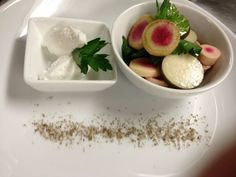 Green Bay: Twin elm farms radishes  smoked sea salt and whipped pork butter