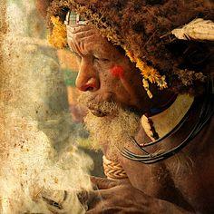 Huli Wigmen Making Fire, Papua New Guinea