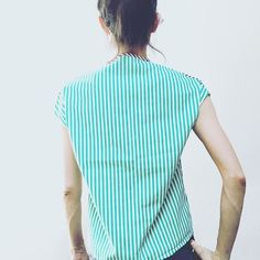 #fittingsession #theback of #greencotton #ethicallymade #sustainablefashion #fashiontech in #boston #joystreetstudios #simonesimonparis #alloverpattern #greenandwhite #stripes #garments #simonesimonparisinamerica #madeinusa  #ethicalfashion  #patterns #top #reversible #plastron #stripeyourbody #razzledazzlecamouflage  #stitching #lines #mariniere #frenchstyle #chicparisien