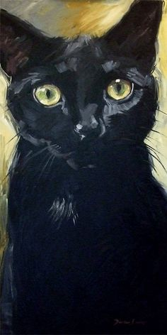 HUGE black cat oil painting.  Big 18 x 36 inch original oil painting of black kitty Morticia with the yellow eyes by Diane Irvine Armitage. #BlackCat