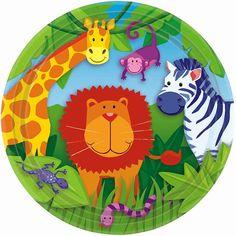 Piattini in carta per festa compleanno a tema giungla. Con questi adorabili leone, giraffa, zebra e i suoi amici della foresta la diversione è garantita!