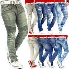 KOSMO Lupo Uomo Jeans Mens Pants Tempo Libero Pantaloni Clubwear Designer Dope Nero