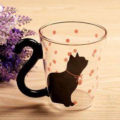 Modern Cat Silhouette Glass Mug