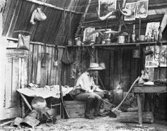 Bushman inside a slab hut circa 1870 Old Photos, Vintage Photos, Pioneer Life, Early Settler, Aboriginal People, Australia Day, Historical Pictures, Old West, Tasmania