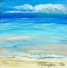 A wonderful small size acrylic painting showing an amazing beach Original painting direct from the artist Size about 15 x 15 cm / 6 x 6 inches The structure, gradations and brilliance of the colors as well as the careful execution of the painting are unfortunately not sufficiently
