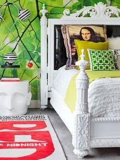 David Bromstad's bedroom in his Miami condo. #red #rug