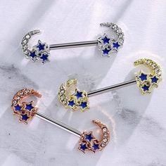 Pair of 14G Aurora Star Blue Moon Nipple Piercing Rings Steel Barbells