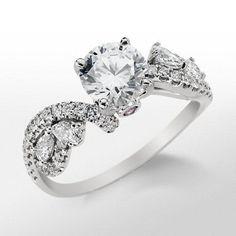 Monique Lhuillier Floral Twist Diamond Engagement Ring