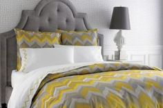 Beautiful grey and yellow- guest bedroom