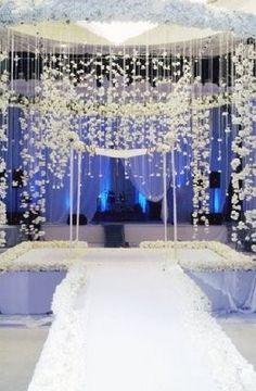 White Wedding Chuppah #chuppah #crystalceremony #crystalmandap