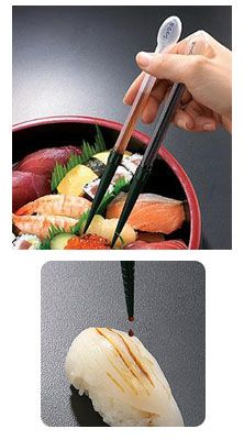 Sauce Dispensing Chopsticks If I was a sushi eater.these would be really neat Gadgets And Gizmos, Cool Gadgets, Salsa, Lazy People, Cool Technology, Cool Inventions, Chopsticks, Kitchen Gadgets, Kitchen Stuff