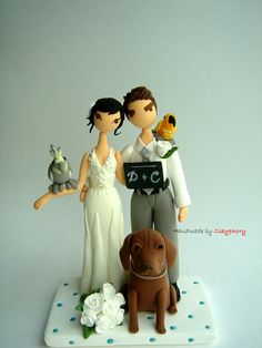 Lovely couple with cute pets Customized wedding cake by Clayphory
