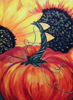 Sunflower Harvest and a Pumpkin by Carol W Gross. Love this painting and the colors. Inspired from our You/tube tutorial. Autumn Painting, Fall Paintings, Autumn Art, Tole Painting, Canvas Paintings, Painting On Wood, Painting & Drawing, Watercolor Paintings, Canvas Art