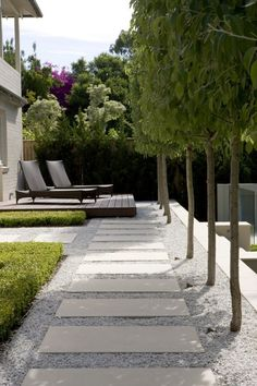 Concrete stepping stones in a contemporary setting