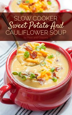 Creamy cauliflower soup like you've never had it before! This Slow Cooker Sweet Potato and Cauliflower Soup is positively delicious and so easy to make! This Slow Cooker Sweet Potato and Cauliflower Soup is positively delicious and so easy to make. Crock Pot Soup, Slow Cooker Soup, Slow Cooker Recipes, Cooking Recipes, Healthy Recipes, Crockpot Dishes, Crockpot Meals, Healthy Options, Delicious Recipes