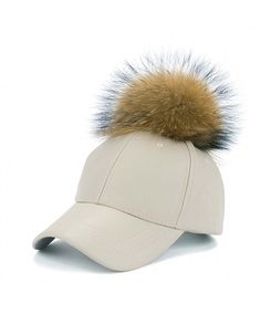 19d66d32 Faux Leather Baseball Caps With Real Fur Pom Pom Outdoor Sports Adjustable  Hats Beige CR12J2IYHND