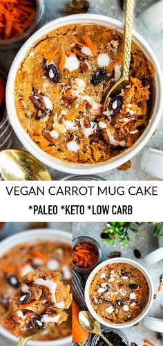 This Carrot Mug Cake is tender, moist & easy to make in just one minute in your microwave. It's the perfect low carb, paleo vegan cake for spring & Easter. Vegan Keto Recipes, Paleo Vegan, Lunch Recipes, Low Carb Recipes, Dinner Recipes, Healthy Recipes, Yummy Recipes, Dinner Ideas, Healthy Snacks