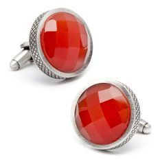 """Faceted Red Cat's Eye Stone Gunmetal Finish Cufflinks Things2Die4. $84.95. 3/4"""" x 3/4"""". Makes A Great Gift. Rhodium Plated"""