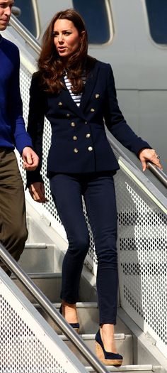 Day 5 saw thhe royal couple out on Auckland Harbour so Kate opted for a nautical-inspired look with blue skinny jeans, a breton striped top and a navy Zara blazer with gold buttons.