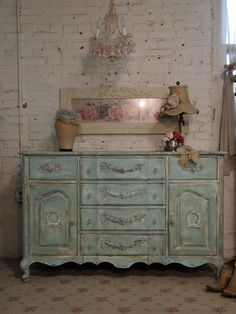 RESERVED ALICE Painted Cottage Chic Shabby Aqua Server / Buffet or Dresser
