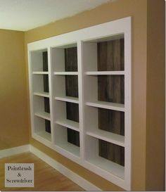 Love, love, love these built in floor to ceiling bookshelves from Paintbrush and Screwdriver!