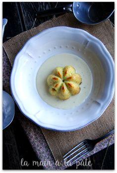 small domes of surimi with leeks, lemon sauce