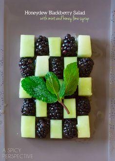 Blackberry Honeydew Salad with Honey Lime Syrup #spring #salad #fruitsalad