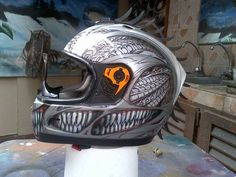 Toothy airbrushed helmet by nixa expensive .