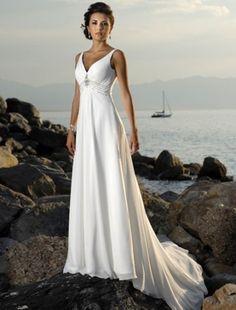 Empire V-neck Court Trains Sleeveless Chiffon Beach Wedding Dress For Brides