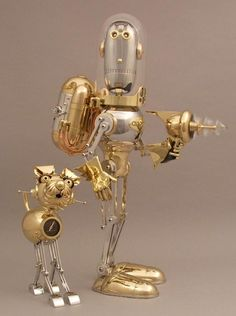 Metal Robot Sculpture by Lawrence Northey Steampunk Kunst, Steampunk Design, Steampunk Fashion, Arte Robot, Robot Art, Sculpture Metal, Found Object Art, Junk Art, Assemblage Art