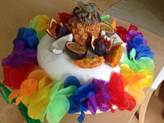 Hawaiian party vanilla cake with creme patissiere