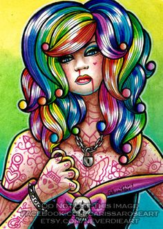 Limited Edition 2 out of 25 Apprx 5x7 in Art Print - Hard Candy 4 - Pin Up Girl With Rainbow Hair