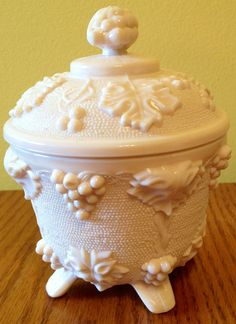 1950s pink milk glass candy bowl