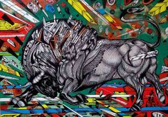 Silver bullet is a painting of a powerful silver bull