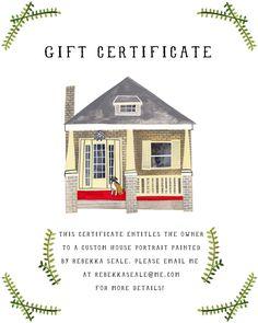 GIFT CERTIFICATE: Illustrated House Portrait. $75.00, via Etsy.