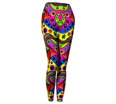Retro Leggings, Leggings by Brittany Bonnell. Printed leggings with compression fit performance fabric milled in Montreal Printed Leggings, Workout Leggings, Pajama Pants, Shop Art, Spandex, Retro, Brittany, Fabric, Clothes